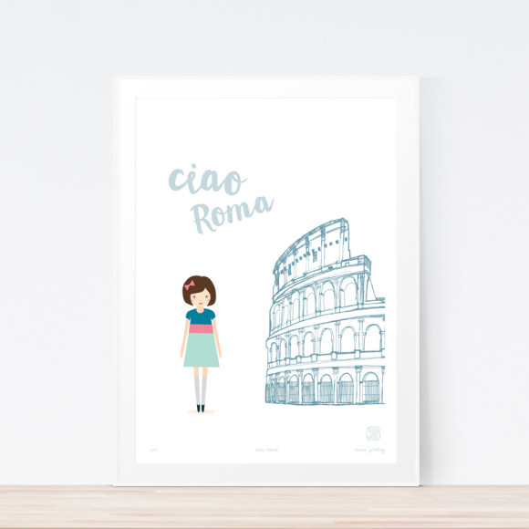 Ciao Roma Art Print Framed
