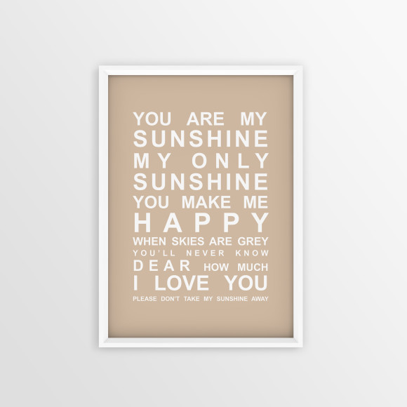 You are My Sunshine Bus Roll Print with optional white timber frame, in Latte