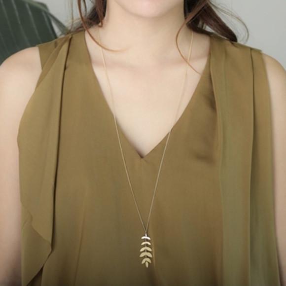 Gold Foliage Necklace on Model