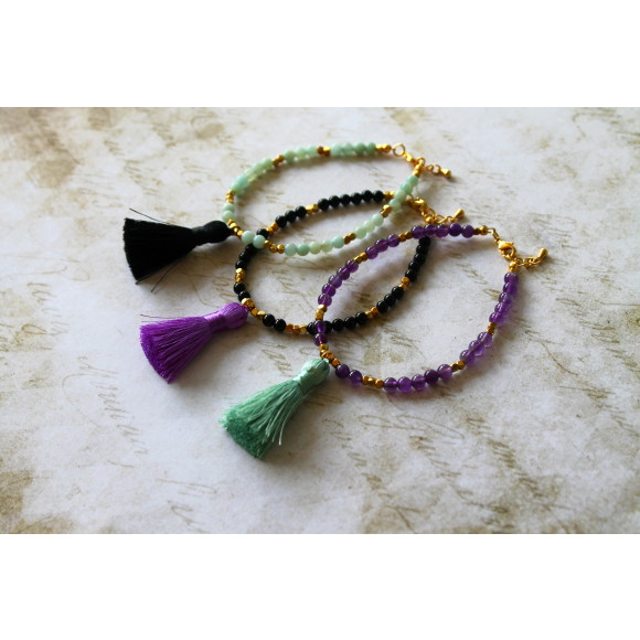 Amazonite/Black onyx/Amethyst