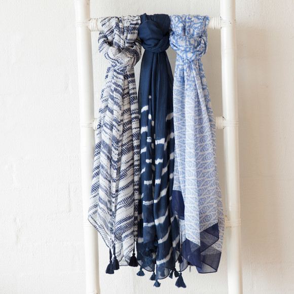 Blu bliss scarf on right
