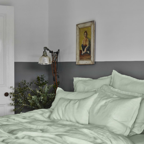 Dew green linen bed sheet set