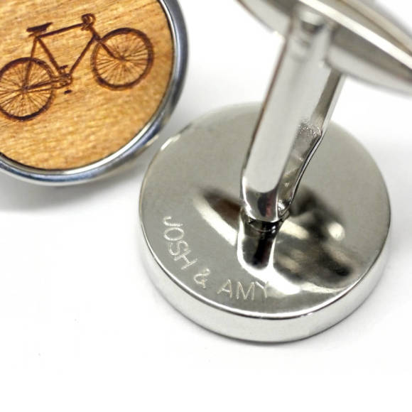 engraved message on back of rhodium plated cufflinks