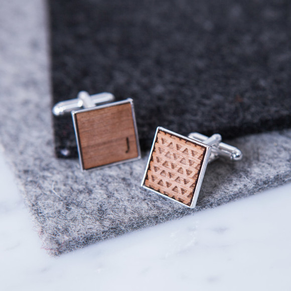 Square Initial and Geometric Triangle Cufflinks