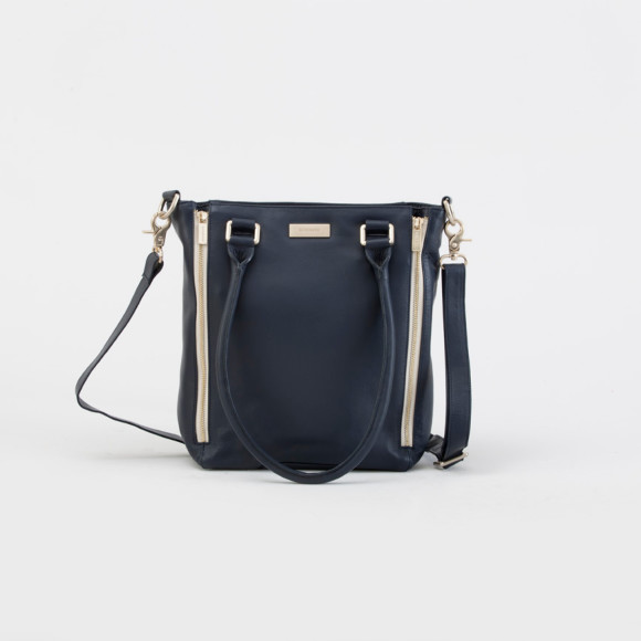 Nellie tote bag in navy with contrast cream zipper casing and lining