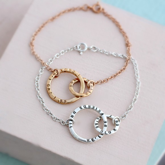 Personalised Link Bracelet in rose gold plate and silver