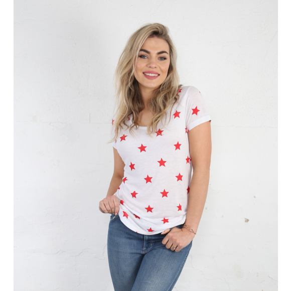 Classic White Tee with Red Stars