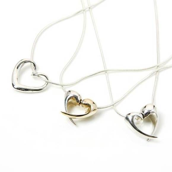 Love Heart Necklaces & Silver Twisted Heart Pendant