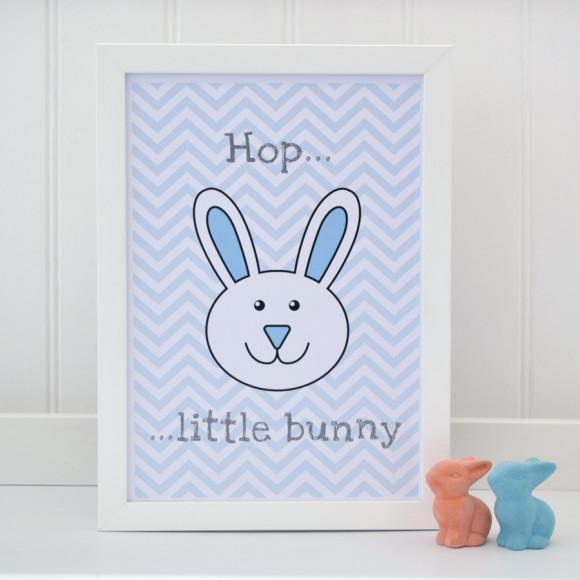 Hop little bunny blue chevron print