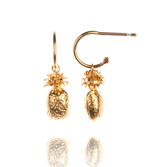 Amanda Coleman pineapple drop earrings 22ct gold vermeil