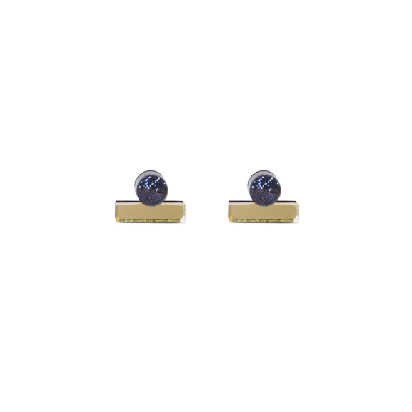 Dot Dash Studs - Metallic Grey / Gold
