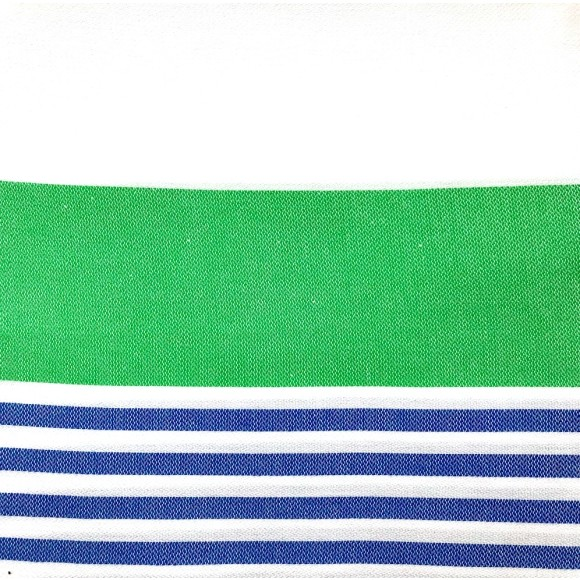 White and green with blue stripes