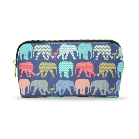 Elephants & Flamingos Make Up Bag