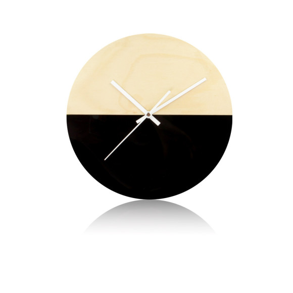 Half moon wall clock in black - 30cm