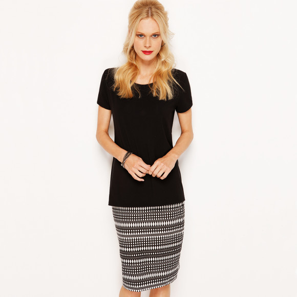 Pencil Skirt Midi with Essentials Tee