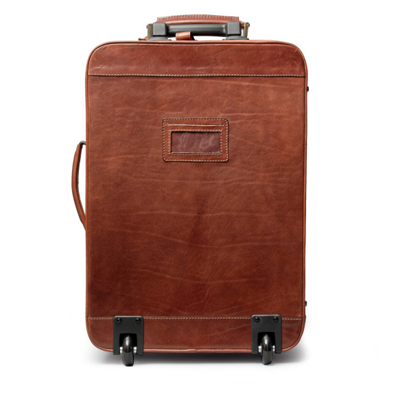 Chestnut brown leather wheeled suitcase