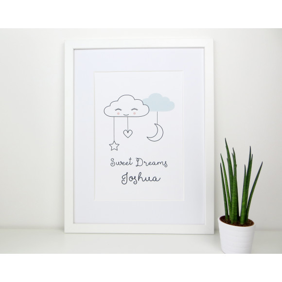 Baby Blue Sweet dreams cloud nursery print