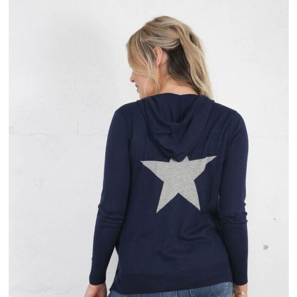Cotton Blue Hoodie with Grey Star