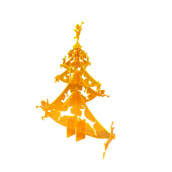 Flat pack Christmas tree with decorations