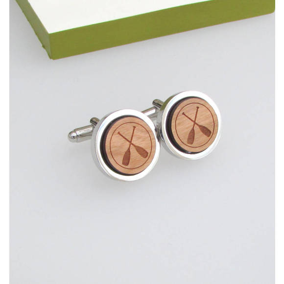 Personalised Wooden Crossed Oars Cufflinks