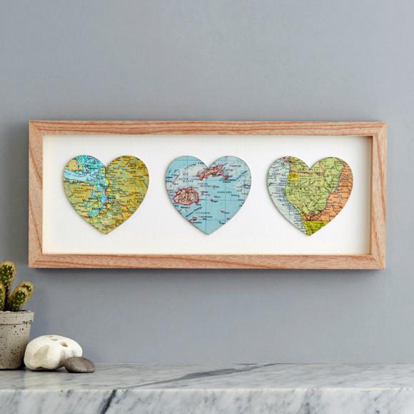 Bespoke Map Heart Trio Artwork By Bombus: Three Map Heart Personalised Wedding Print