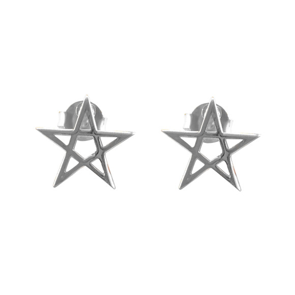 Pentacle Star Stud Earrings sterling silver