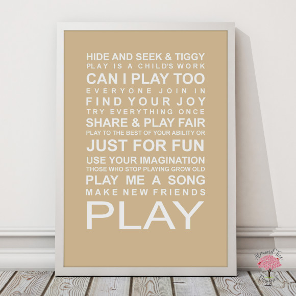 Expressions of your childhood playroom rules print in Latte, with optional Australian-made white timber frame