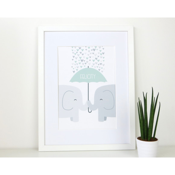 Elephant Nursery Print - mint green