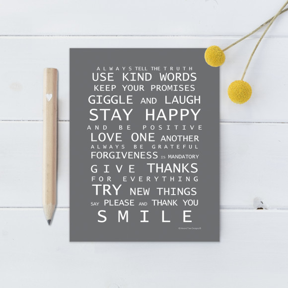 Family Rules Magnet - Grey