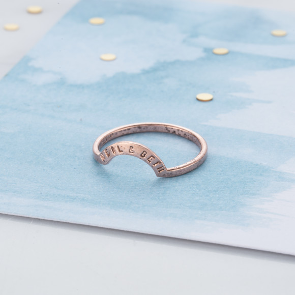 Personalised Crescent Eclipse Ring in rose gold plate