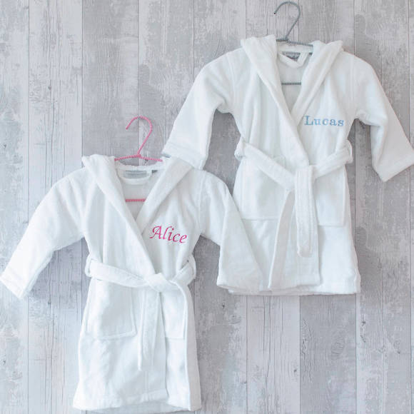 Personalised Embroidered Cotton Velour Dressing Gown For Kids ...