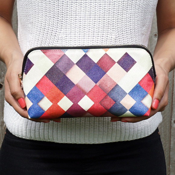 Colorful Checkered Vegan Leather Make Up & Cosmetic Bag