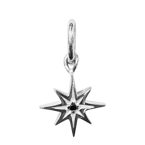 Star Charm in Sterling Silver with Black Spinel Stone