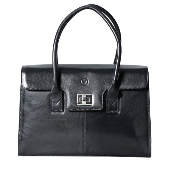 The Fabia leather business bag in black