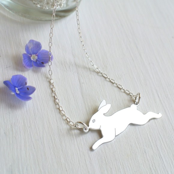 Sterling Silver Running Bunny Necklace