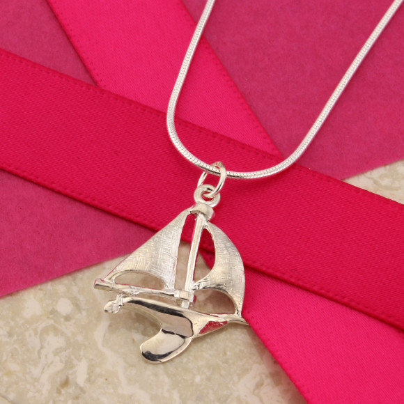 Sailing Boat Pendant on Fine Silver Curb Chain