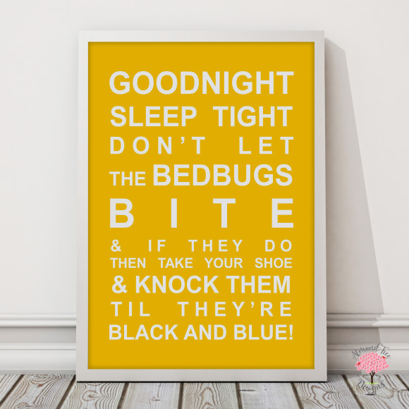 Goodnight Sleep Tight Print in Yellow, with optional Australian-made white timber frame