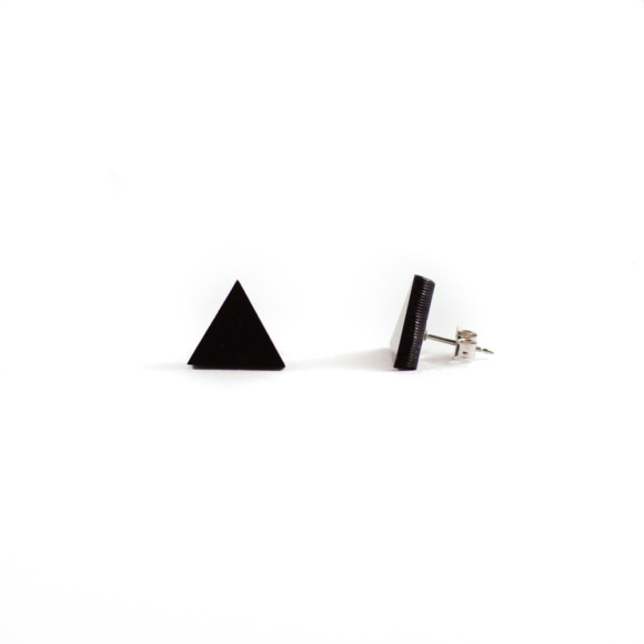 GEO - Triangle earring studs in black