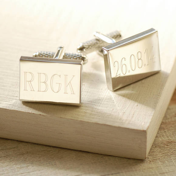 Engraved Rectangular Cufflinks - Plain Font