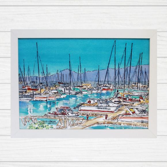 Able Point Marina Beach Framed Art Print