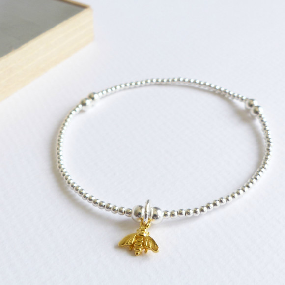 Sterling silver beaded tiny gold bumble bee bracelet
