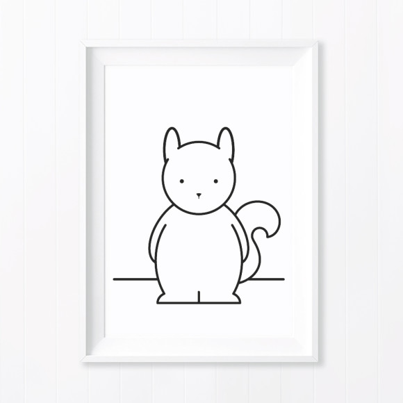 Sam Squirrel Monochrome Nursery Art Print