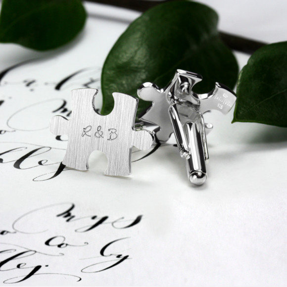Custom engraved jigsaw cufflinks