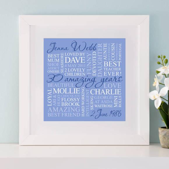 chunky white frame - blue print