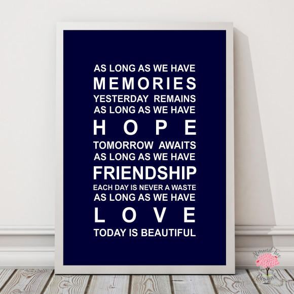 Memories Print in Navy, with optional Australian-made white timber frame