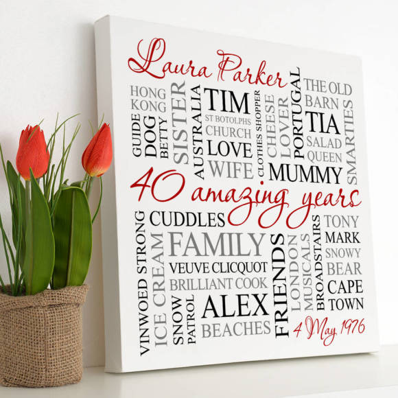 white canvas - red, black & grey text