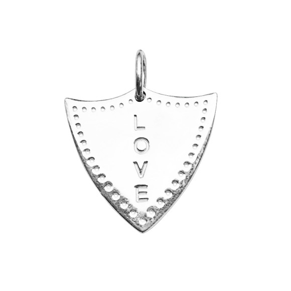 Love Shield Charm in Sterling Silver
