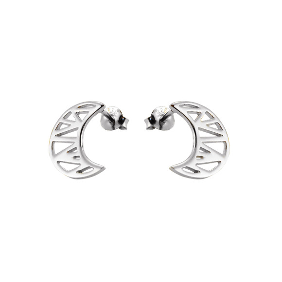 cosmic moon stud earrings silver