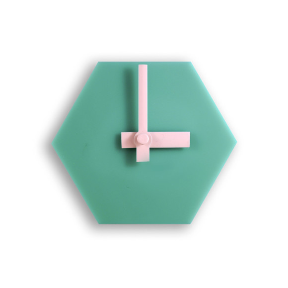Aqua grey desk clock with baby pink hands