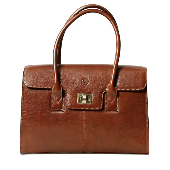 The Fabia ladies business bag in chestnut brown